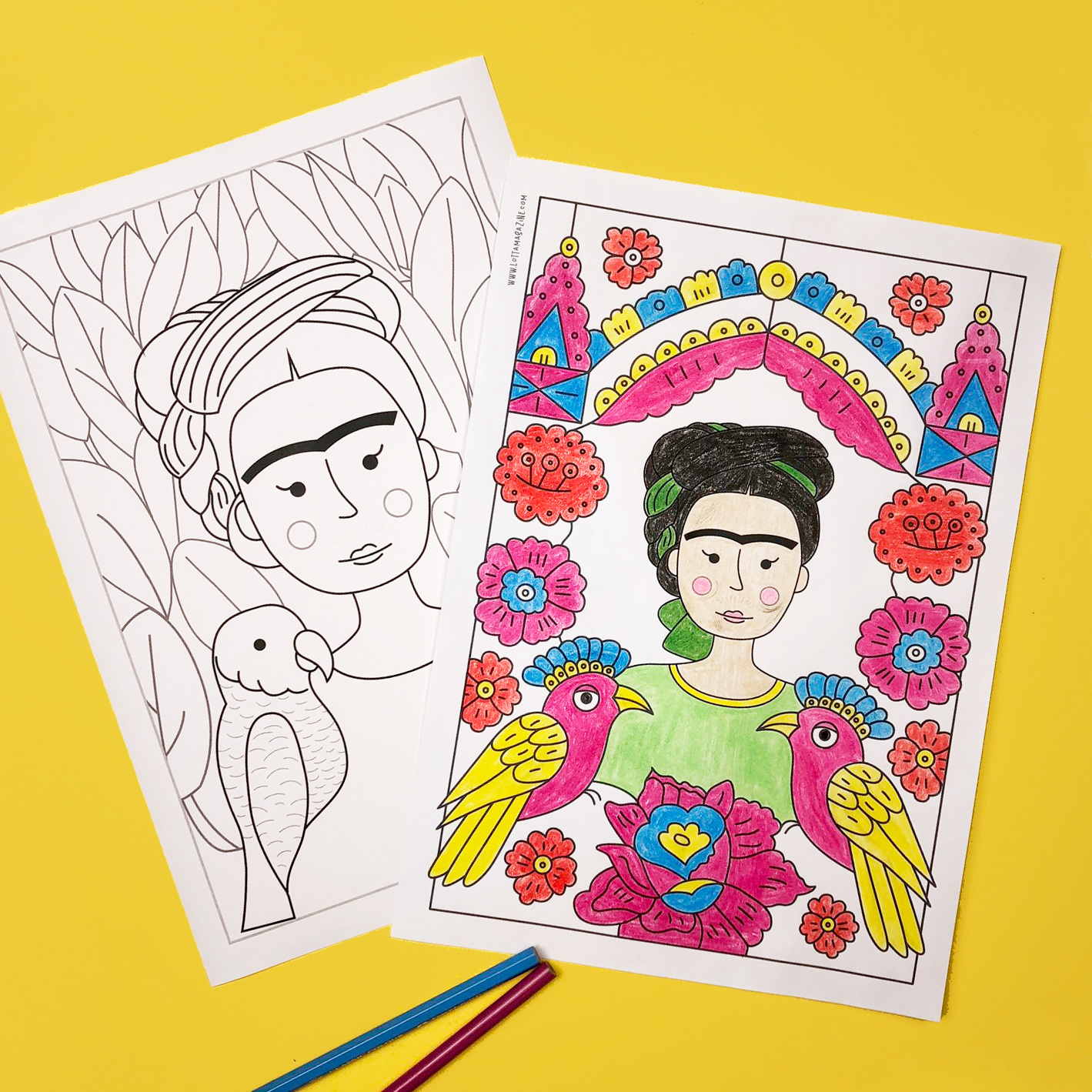 Frida kahlo colouring pages