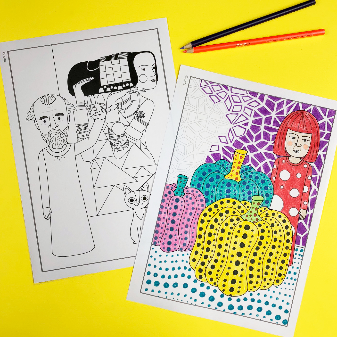 Famous artist colouring pages 2