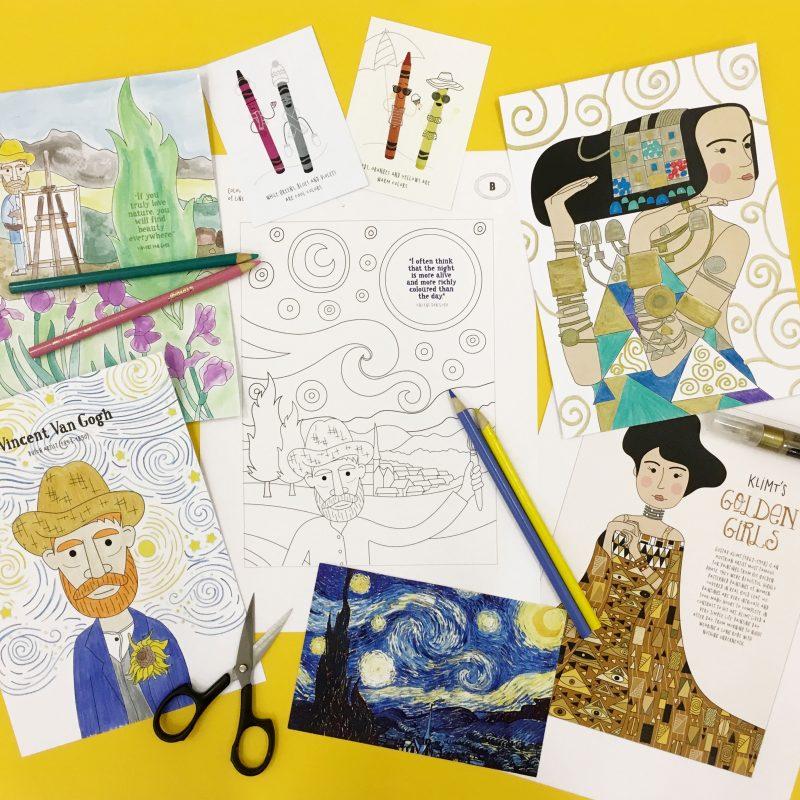 Lotta DIY Mag Van Gogh Klimt art history activities colouring